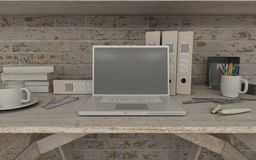 White interior desk and bookshelf Stock Photography
