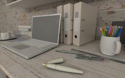 White interior desk and bookshelf Royalty Free Stock Photography