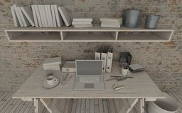 White interior desk and bookshelf Stock Photos