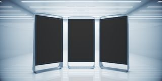White interior with empty ad billboards Stock Image