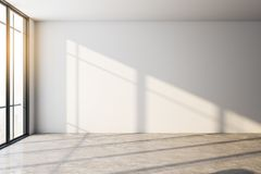 White interior with empty wall. Empty interior with shadows, daylight and copy space on white wall. Mock up, 3D Rendering stock illustration