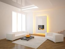 White interior with fire. White interior concept with fire Stock Images