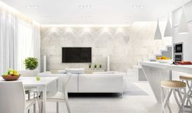 White interior of modern kitchen combined with living room. White interior of modern kitchen combined with large living room royalty free stock image