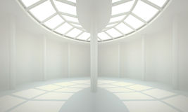 White interior of nonexistent building. 3d illustration. White interior of nonexistent building. Round symmetric hall with top lighting in perspective. Render Stock Images