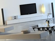 White interior with plasma TV. Modern, minimalist interior with hihg-end home cinema system, designer furniture and orchid Stock Photography