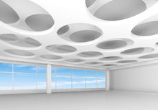 White interior with round holes pattern on ceiling. Empty white interior background with round holes pattern on ceiling and blue cloudy sky outside, 3d Stock Photo
