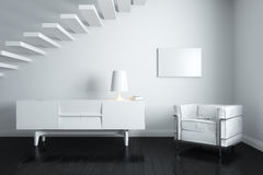 White interior with stairs Stock Photos