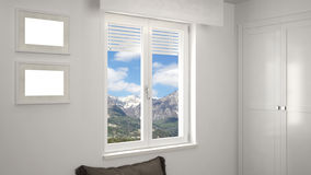 White interior with window. With mountain landscape in background Stock Photography