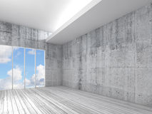 White interior with wooden floor, concrete walls 3d Royalty Free Stock Image