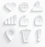 White Internet icons heart. Vector illustration of Internet icons 3d white plastic with realistic shadow Royalty Free Stock Photography