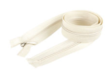 White invisible zipper. Long white invisible zipper roll stock photos