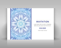White invitation with floral decoration. Royalty Free Stock Photography