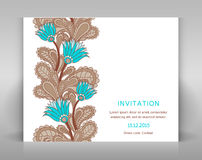 White invitation with floral decoration. Stock Photography