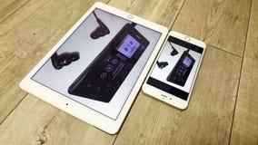White Ipad Beside Gold Iphone 6 Stock Image