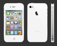 White IPhone 4S with profile. The latest generation iphone , highly popular around the world Stock Photos