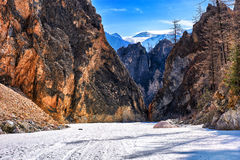 White Irkut River Canyon in early May Stock Image
