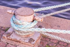White Iron Berth. Holding White Boat Lines Royalty Free Stock Image