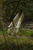White iron bridge. Over river Royalty Free Stock Photos