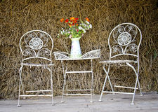 White iron chairs Stock Images