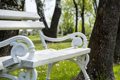 White iron park bench. White iron bench photographed in a park Palic. Serbia stock photos