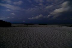 White island, cancun Quintana Roo, night of stars. Water, reflection, ocean, amazing, trip, orange, wild, beach, wildlife, sunset, shape, mexico, caribbean stock photography
