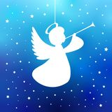 Flying angel with trumpet on a navy blue background. White isolated angel with trumpet starry silhouette, Merry Christmas card. Vector illustration Royalty Free Stock Photos