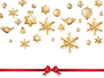 White isolated card with christmas balls. EPS 10 Stock Photos