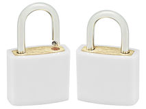 White Isolated Padlock Pair Macro Closeup, Large Detailed. Vertical Studio Shot, Open, Closed Lock Protection Security Concept, Golden Brass, Two Padlocks royalty free stock photos