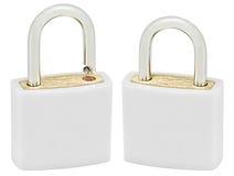 White Isolated Padlock Pair Macro Closeup, Large Detailed Royalty Free Stock Photos