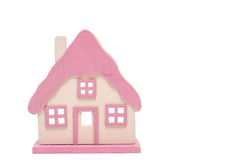 White isolated pink house Royalty Free Stock Photography