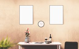 White isolated posters with blank frame mockup. White posters with blank frame mockup for you design. Layout mockup Royalty Free Stock Photo