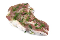 White Isolated Raw Marinated Pork Rib Steak For BBQ Grilling Stock Photo