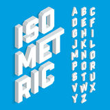 White isometric 3d font. Three-dimensional alphabet letters royalty free illustration