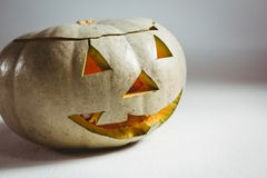 White jack o lantern on white background. Close up of white jack o lantern on white background Stock Photos