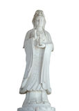 White Jade Statue Of Chineses Female God Isolated Clipping Path. Royalty Free Stock Image