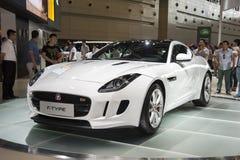 White jaguar ftype car Royalty Free Stock Image