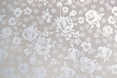 White Japanese paper with flowers pattern. For window glass Stock Photography