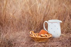 White jar and baked buns in the field. stock image