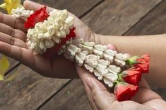 Thai style flower bouquet stock photos