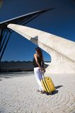 White jeans woman traveller Stock Image