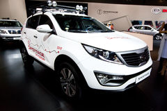 White jeep car Kia Sportage Stock Photos