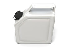 White jerry can. 3D illustration of white jerry can  on white background Stock Photos