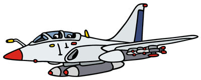White jet aircraft. Hand drawing of a white military jet aircraft - not a real type Stock Photography