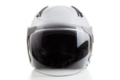 White jet fighter style helmet. Glossy white motorcycle helmet isolated on background Stock Photography