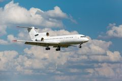 White jet passenger aircraft Stock Photo