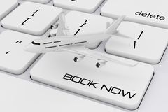 White Jet Passenger`s Airplane over Computer Keyboard with Book. Now Sign extreme closeup. 3d Rendering Stock Images