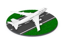 White Jet Passenger's Airplane Take-off from Abstract Runway . 3. White Jet Passenger's Airplane Take-off from Abstract Runway on a white background. 3d royalty free illustration