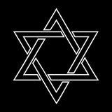 White jewish star design on black background Stock Photo