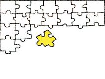 White jigsaw doodle drawing on white background. vector illustration
