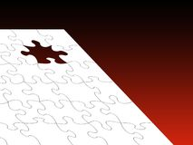White jigsaw over red Stock Image